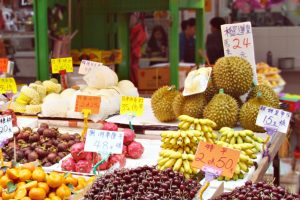 Exotic fruits on a market in Hong Kong