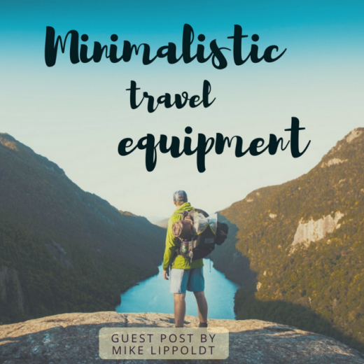 Minimalistic travel equipment - the small backpack of a man