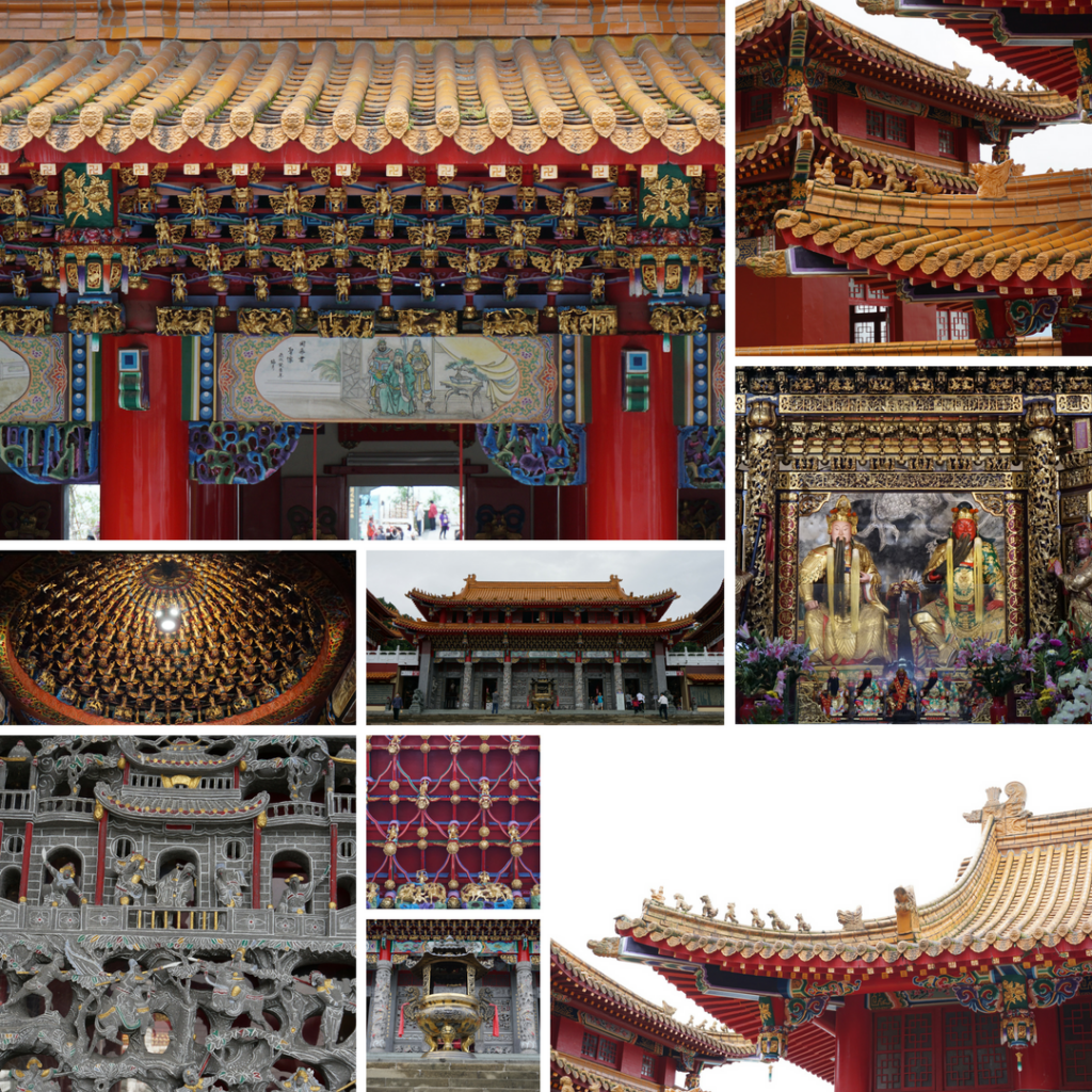 Different ornaments and sections of a Chinese Temple in Taiwan