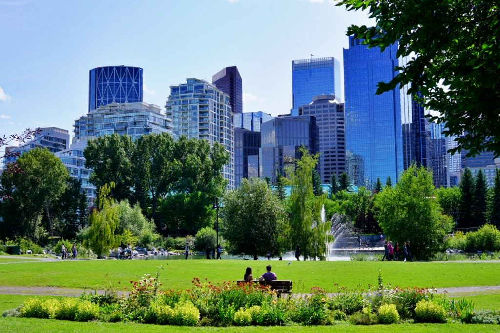 Green park in a city with a couple watching the skyline of Calgary